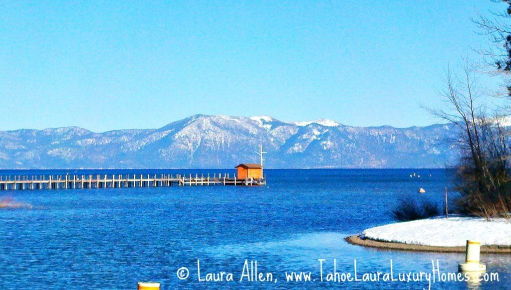 View of Lake Tahoe from the outlet at the Truckee, River in Tahoe City, CA