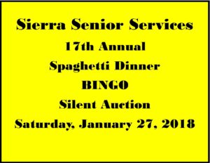 17th Annual Spaghetti Dinner - Sierra Senior Services Jan 27 2018