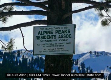 Alpine Peaks Homeowners have access to a limited number of parking spaces next to Alpine Meadows Sherwood Ski Lift